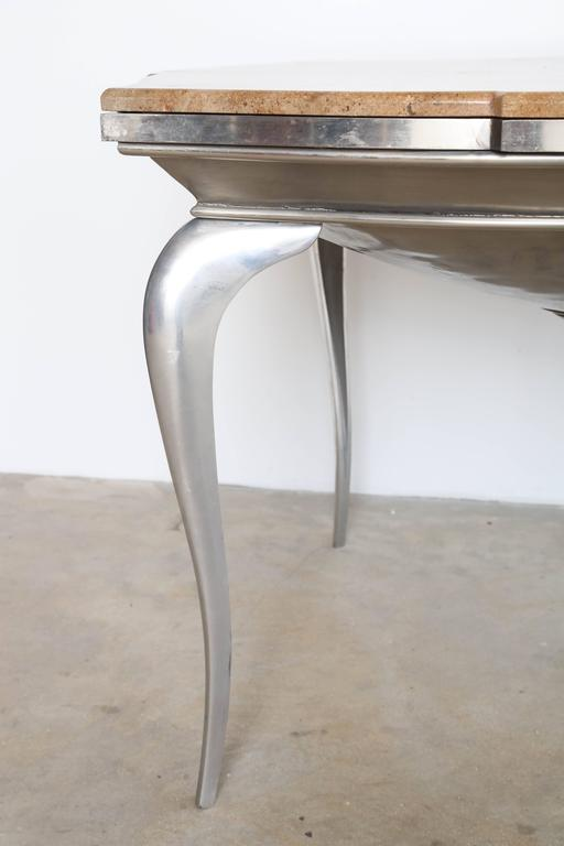 Mark Brazier Jones Mid-Century Unique Signed Central Table Steel and Marble For Sale 1