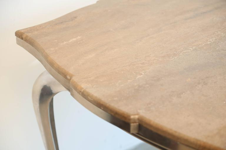 Mark Brazier Jones Mid-Century Unique Signed Central Table Steel and Marble For Sale 3
