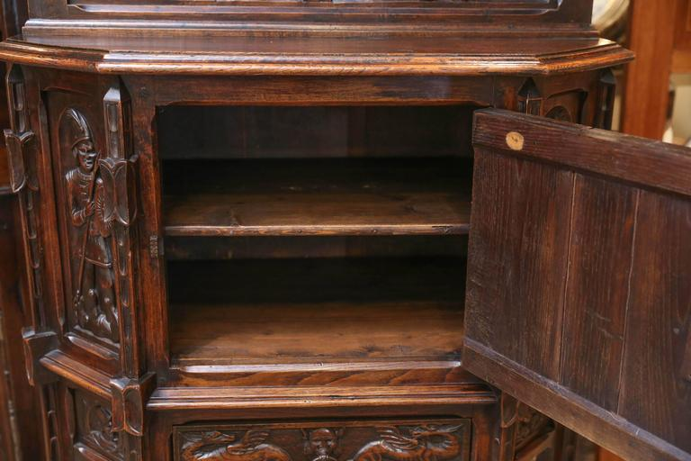 Spanish Oak Cabinet, Early 19th Century Carved with a Rider and a Horse 2