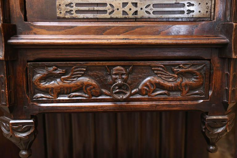Spanish Oak Cabinet, Early 19th Century Carved with a Rider and a Horse 3