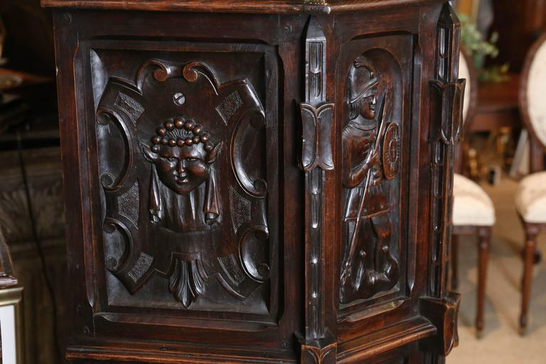 Spanish Oak Cabinet, Early 19th Century Carved with a Rider and a Horse 5
