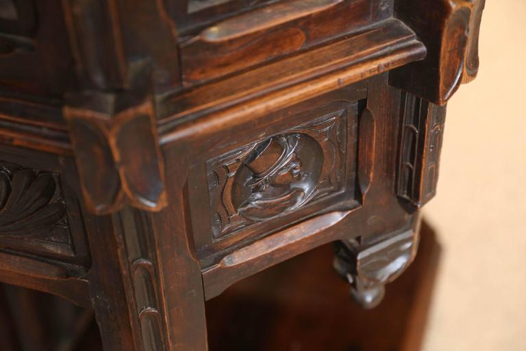 Spanish Oak Cabinet, Early 19th Century Carved with a Rider and a Horse 6