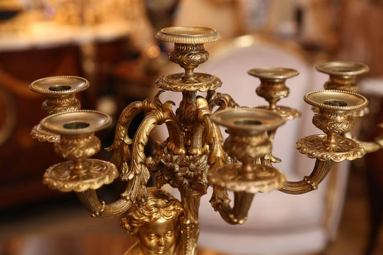 19th Century Pair of Gilt Bronze and Sevres style Porcelain Candelabrum For Sale