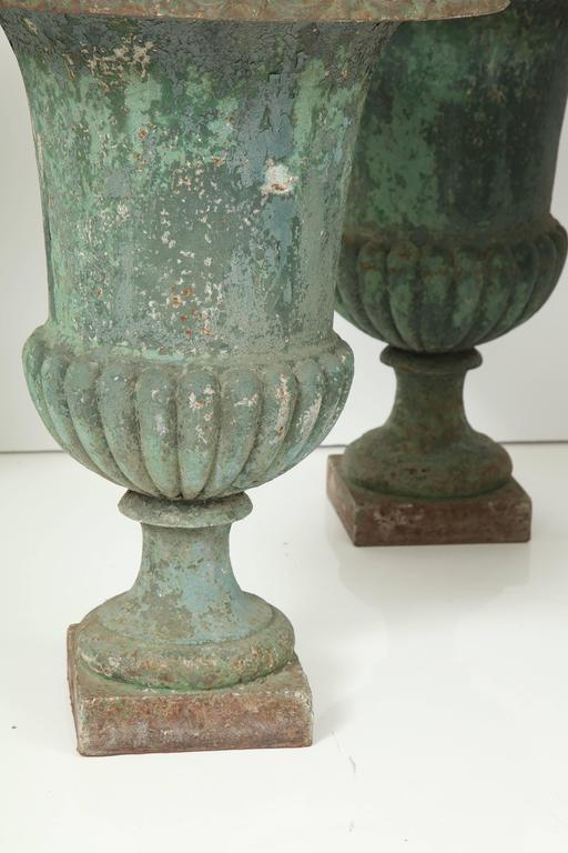 French Rare Set of Six Cast Iron Garden Urns For Sale