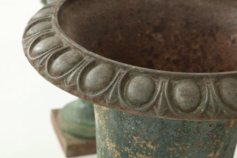 Rare Set of Six Cast Iron Garden Urns 5