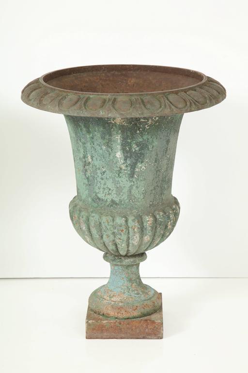Rare Set of Six Cast Iron Garden Urns 8