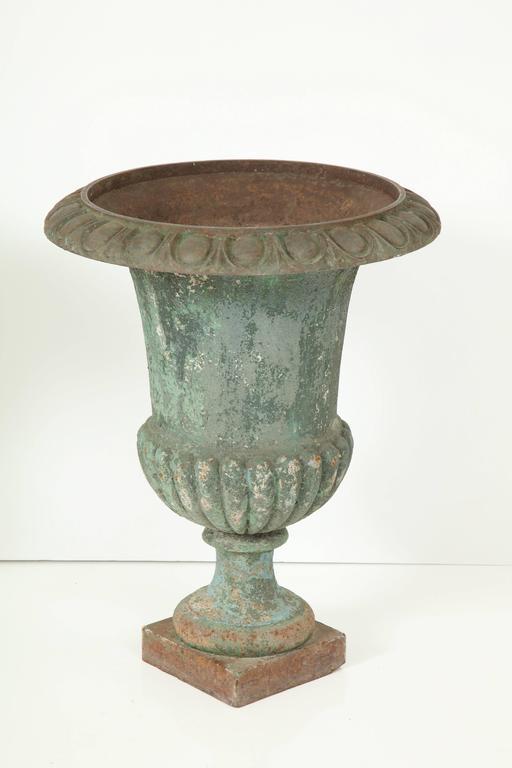 Rare Set of Six Cast Iron Garden Urns 9