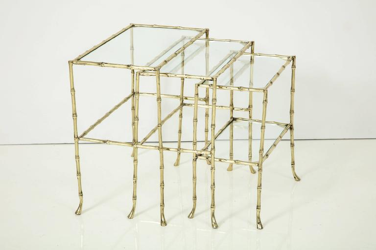 Set of Three Faux Bamboo Nesting Tables 2