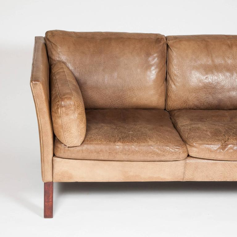 1970s Three Seat Danish Sofa Upholstered In Brown Buffalo Hide By Mogens  Hansen In Good
