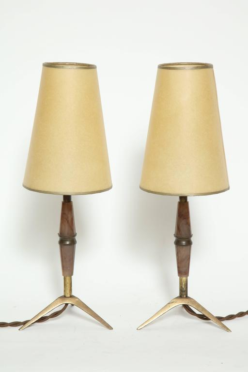 Cast Brass and Bakelite Table Lamps For Sale
