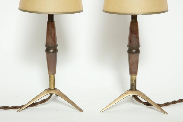 Brass and Bakelite Table Lamps In Fair Condition For Sale In New York, NY