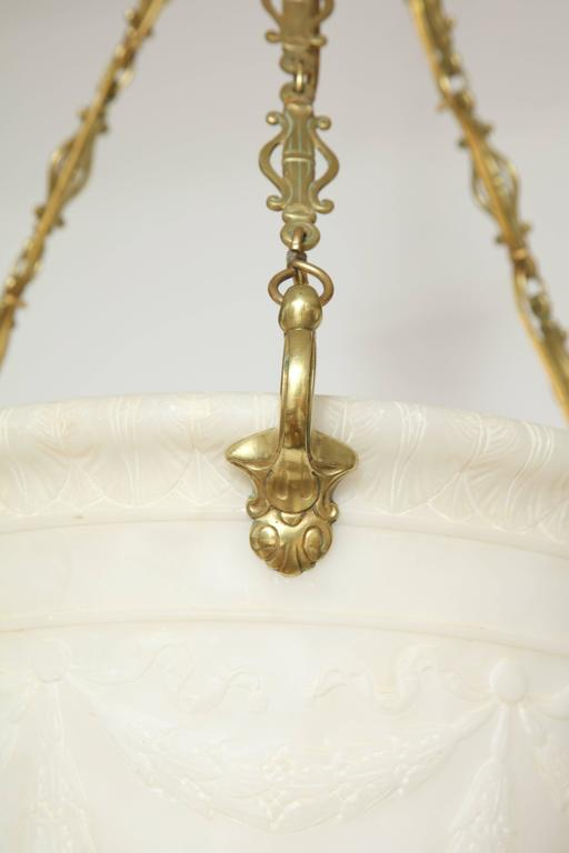 Danish Neoclassical Style Carved Alabaster Light Pendant