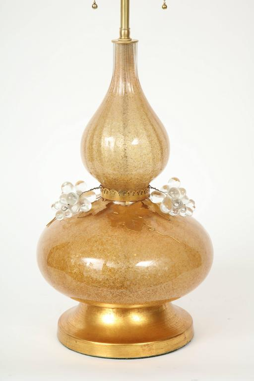 20th Century Marbro Gold Murano Glass Lamps For Sale