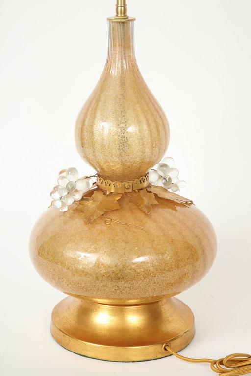 Marbro Gold Murano Glass Lamps In Excellent Condition For Sale In New York, NY