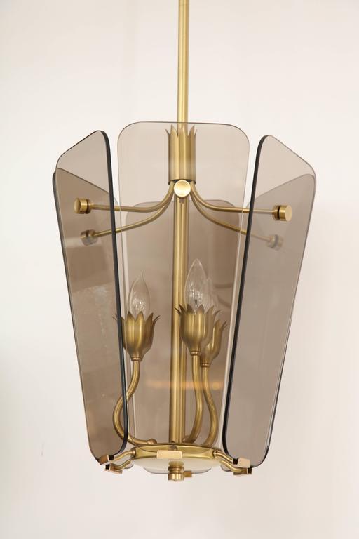 Mid-Century Modern Fontana Arte Style Smoked Glass Pendant For Sale