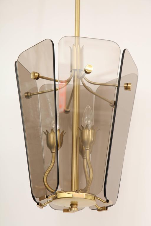 Italian Fontana Arte Style Smoked Glass Pendant For Sale