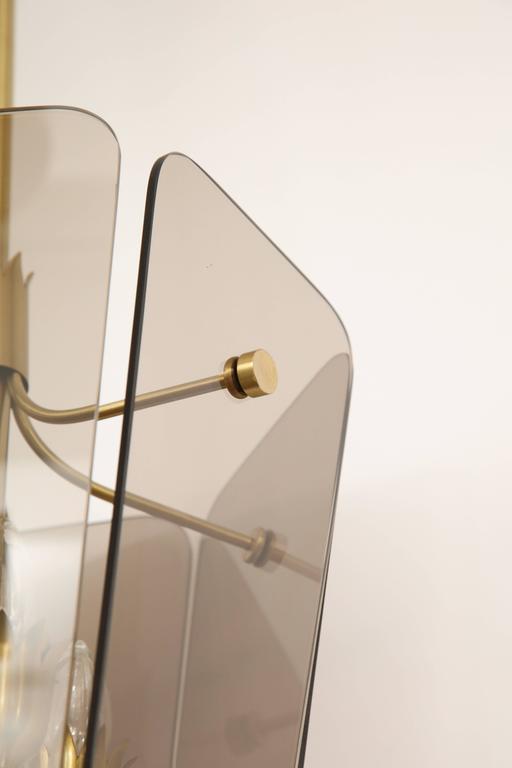 Brass Fontana Arte Style Smoked Glass Pendant For Sale
