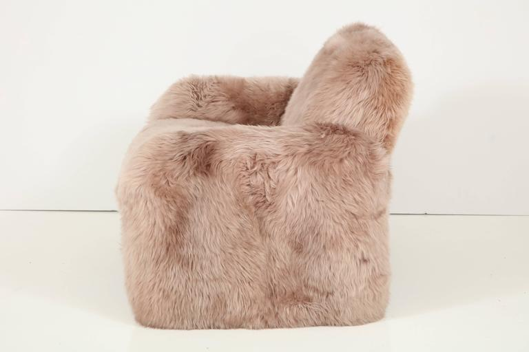 American Ray Wilkes New Zealand Sheepskin Club Chairs For Sale
