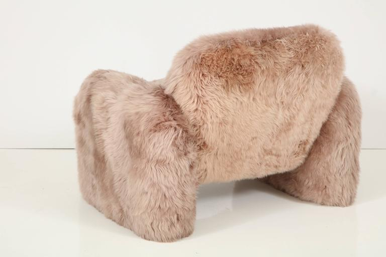 Ray Wilkes New Zealand Sheepskin Club Chairs In Excellent Condition For Sale In New York, NY