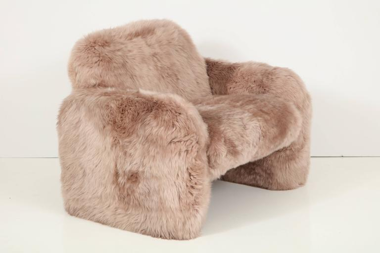 Steel Ray Wilkes New Zealand Sheepskin Club Chairs For Sale