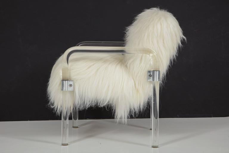 Sheepskin Jeff Messerschmidt Lucite Armchairs For Sale