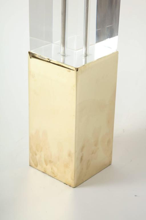 Hollis Jones Brass and Lucite Column Lamps 4