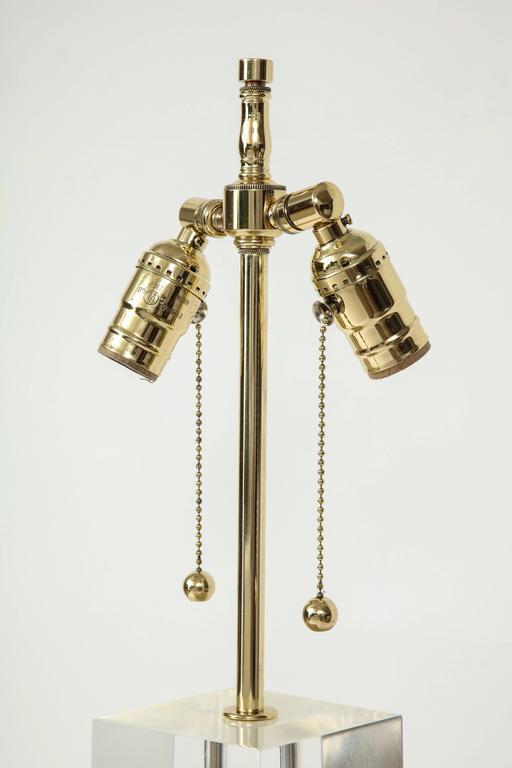 Hollis Jones Brass and Lucite Column Lamps 5