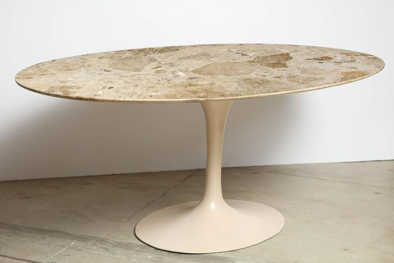 Large Eero Saarinen Tulip Dining Table With Original Custom Stone - Custom tulip table
