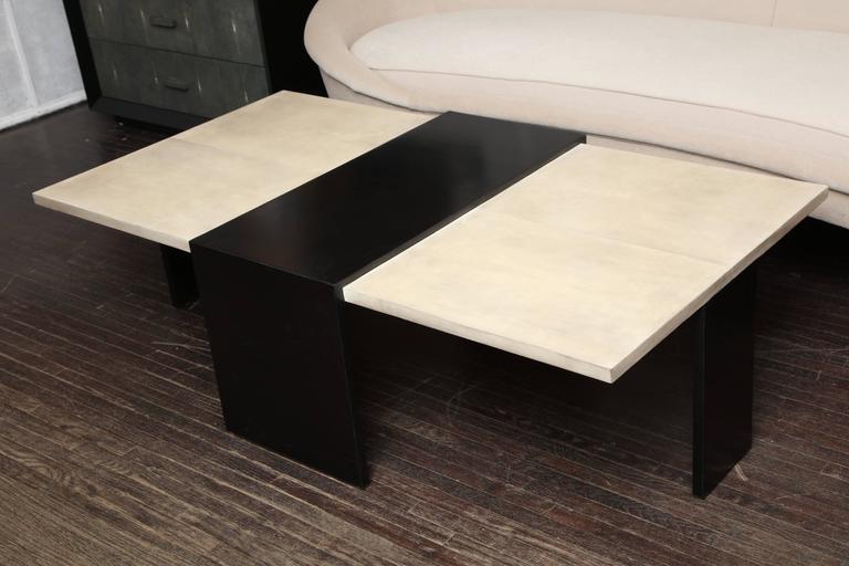 Modern Custom Goatskin Two-Tone Cocktail Table For Sale