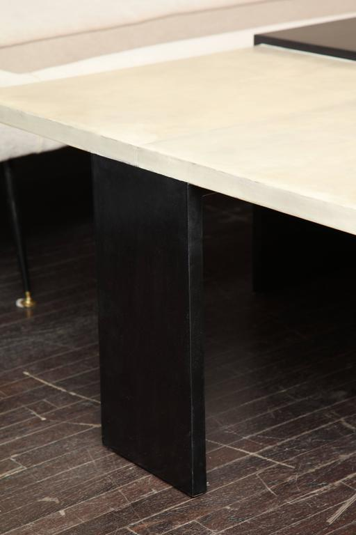 Custom Goatskin Two-Tone Cocktail Table For Sale 1