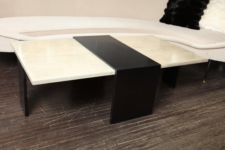Custom Goatskin Two-Tone Cocktail Table For Sale 2