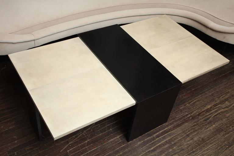 Custom Goatskin Two-Tone Cocktail Table For Sale 3