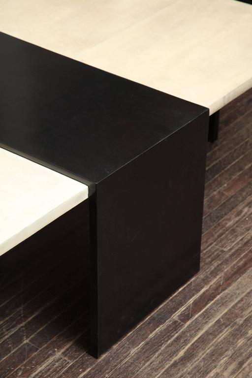 Custom Goatskin Two-Tone Cocktail Table For Sale 4