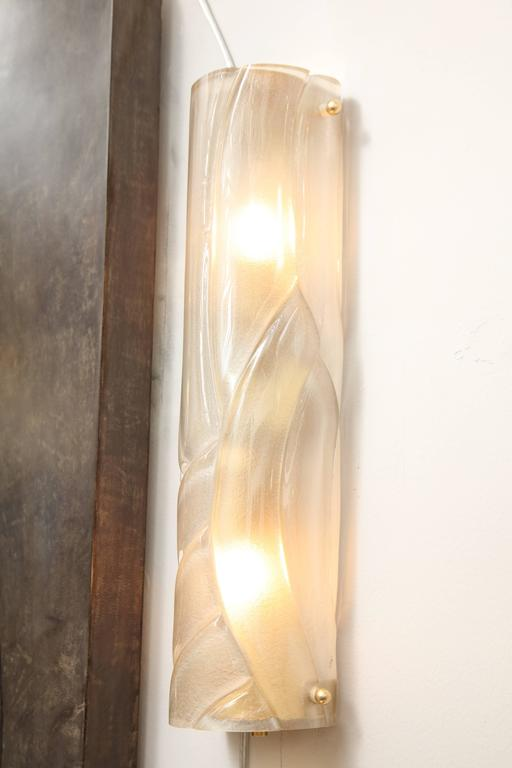 Murano Glass Tubular Sconces Six Available 8