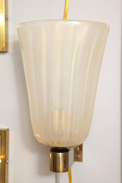 Italian Pair of Murano Glass and Brass Wall Sconces For Sale