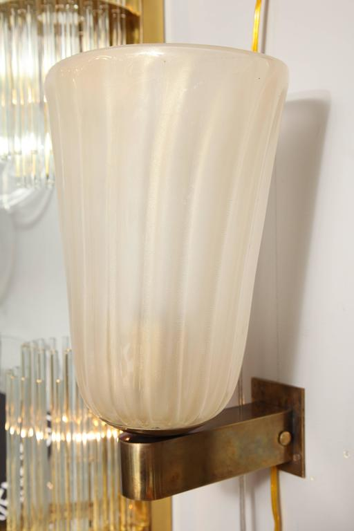 Set of Four Murano Glass and Brass Wall Sconces 6