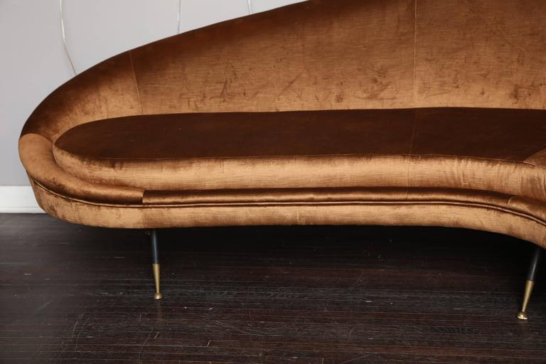 Mid-Century Modern Vintage Italian Curved Sofa For Sale