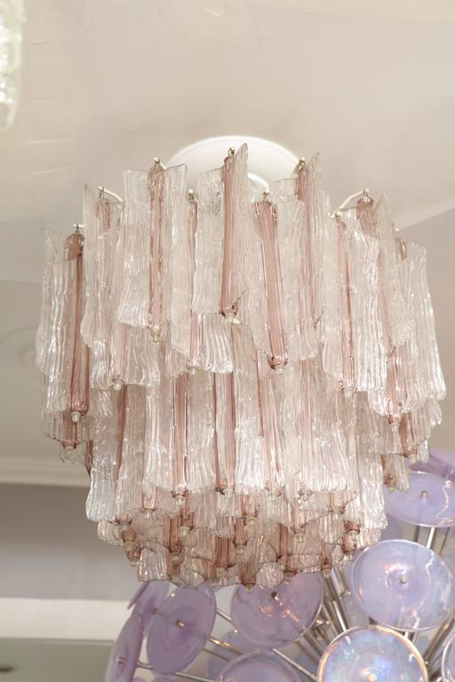 Italian Vintage Amethyst and Clear Murano Glass Chandelier by Toni Zuccheri for Venini For Sale