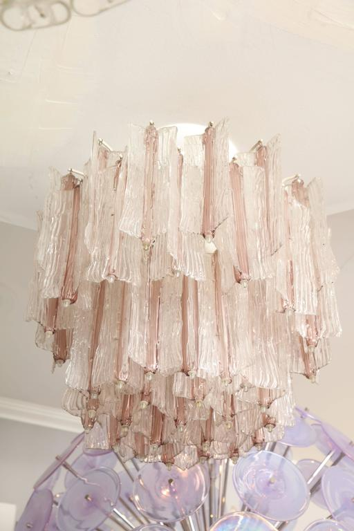 Vintage Amethyst and Clear Murano Glass Chandelier by Toni Zuccheri for Venini For Sale 2
