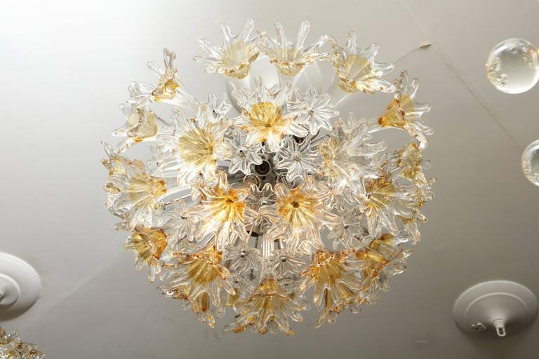 Vintage Flush Mount Venini Esprit Chandelier In Excellent Condition For Sale In New York, NY