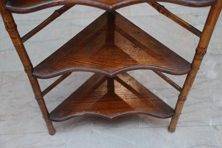 19th Century English Bamboo Corner Etagere For Sale 3