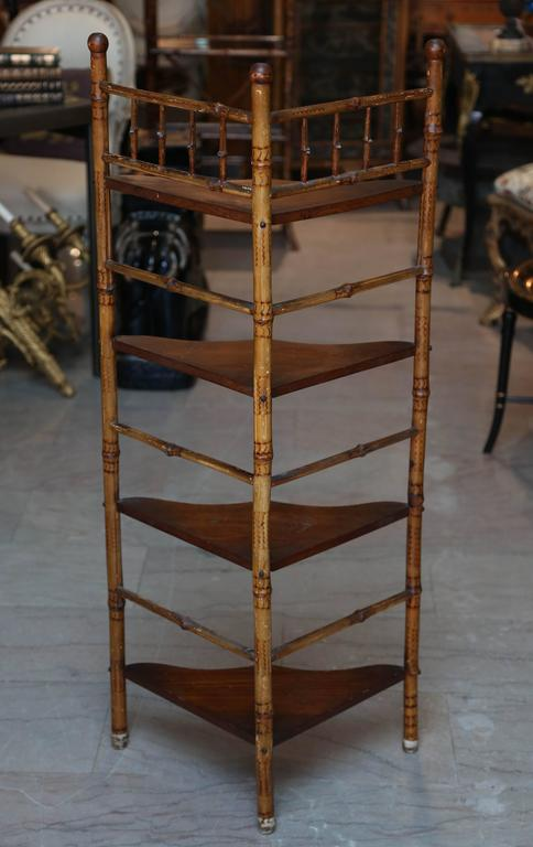 19th Century English Bamboo Corner Etagere For Sale 5