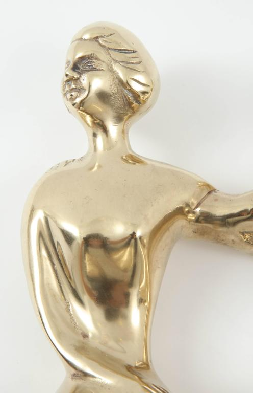 Sculpture, Brass, Three Ladies Sitting on the Edge, C 1950 In Excellent Condition For Sale In New York, NY