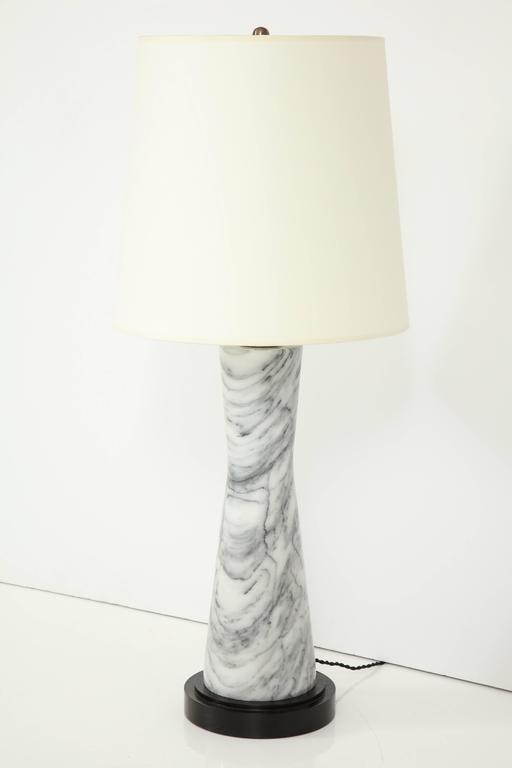 Grey Marble Table Lamp In Excellent Condition For Sale In New York, NY