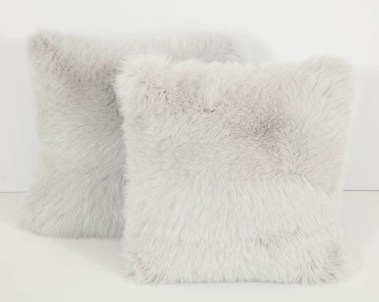 Pair of Gray Fur Pillows 2