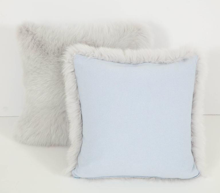 Pair of Gray Fur Pillows 3