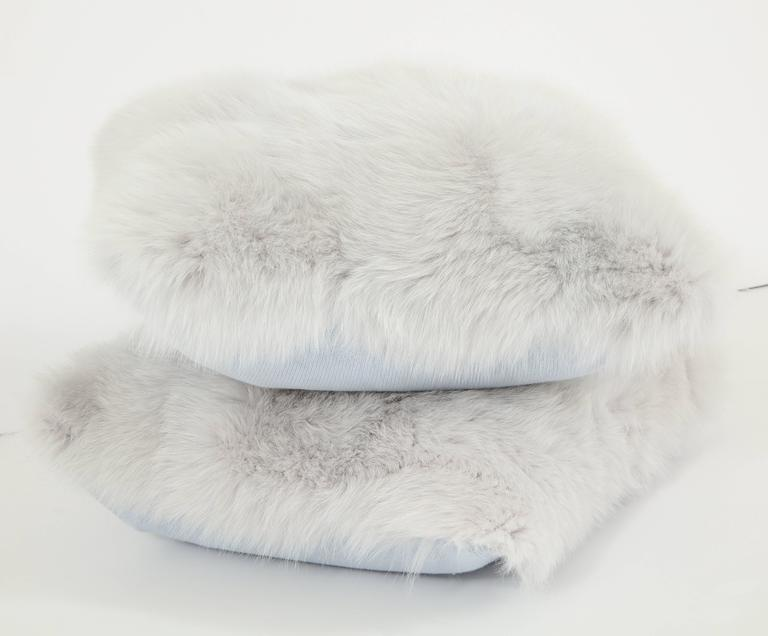 Pair of Gray Fur Pillows 4
