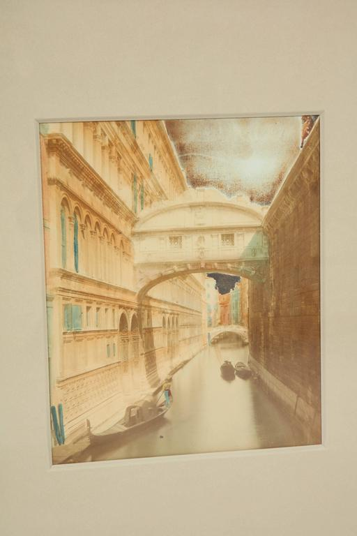 Handcolored photos of Venice, three available, circa 1900 as framed in a handmade combed gesso pyramid with panel frame.