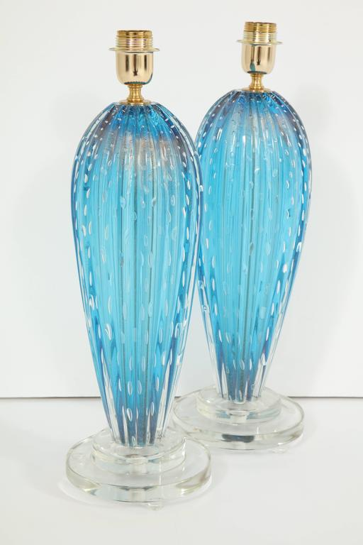 Pair of Blue Murano Glass Lamps For Sale 2