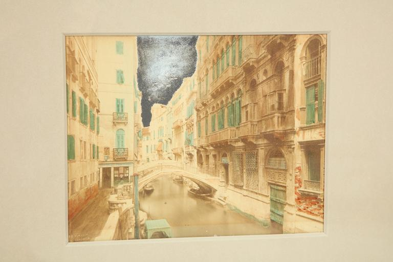Handcolored photos of Venice, three available, circa 1900, as framed in handmade combed gesso pyramid panel frames.